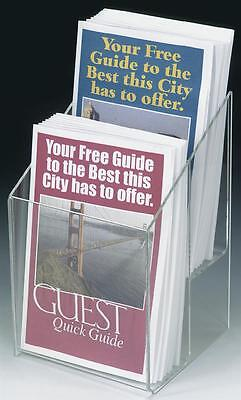 Clear Acrylic 2 Pocket Tiered Brochure Holder For 5.5w Literature