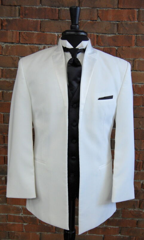 Mens 54  L  White Razor Inset Lapel Tuxedo Dinner Jacket by After Six Modern Fit