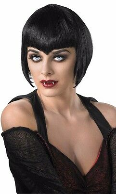 Short Black Vampire Wig Vampiress Bob Adult Costume Hair Wig - Fast Ship - - Vampiress Wigs