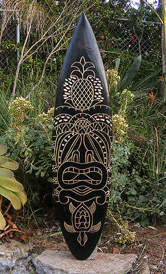 "Tribal Tiki Turtle Tropical Nautical Wood Surfboard Wall Plaque Tiki Bar 38"" #2"