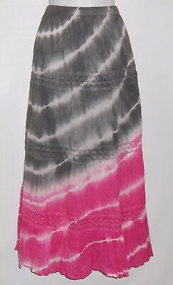 Bohemian Cafe Ladies Boho Tie Dye Crinkle Tiered Maxi Skirt Gray & Pink M NWT