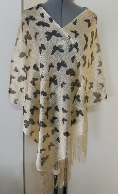 Gold Brown Butterfly Summer PONCHO Cover with tassels X8-Gold - Brown Poncho