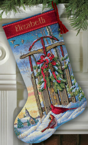 Dimensions Gold Collection Christmas Sled Stocking Counted C