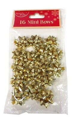 Christmas Gift Bows 16 Pack Mini Gold Foil Present Paper Xmas Wrapping+Free Dots