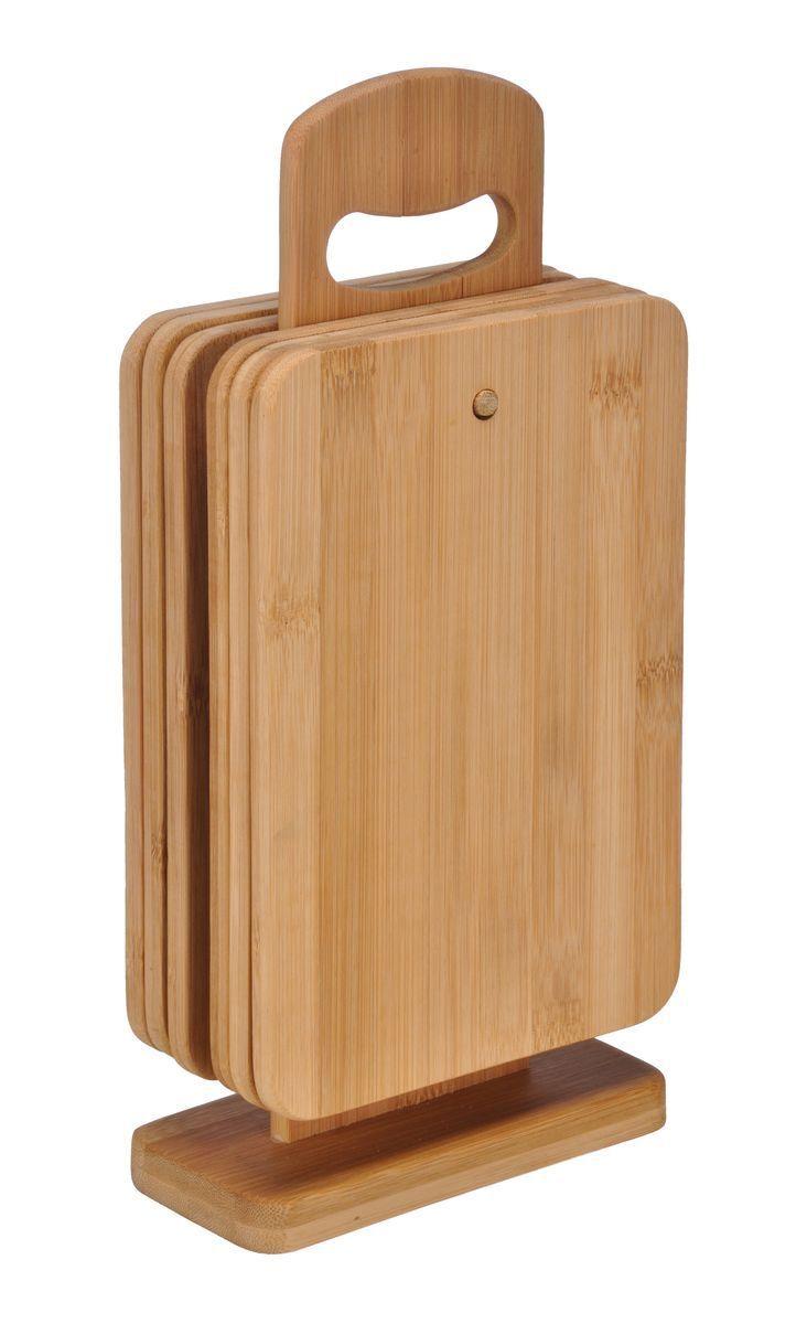 6er Set Bambus Frühstücksbrettchen mit Ständer Brettchen Schneidebrett Holz