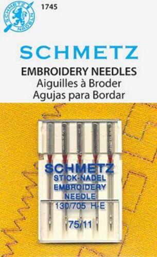 Schmetz Embroidery Needles Size 11/75  Count 5  Machine Needles