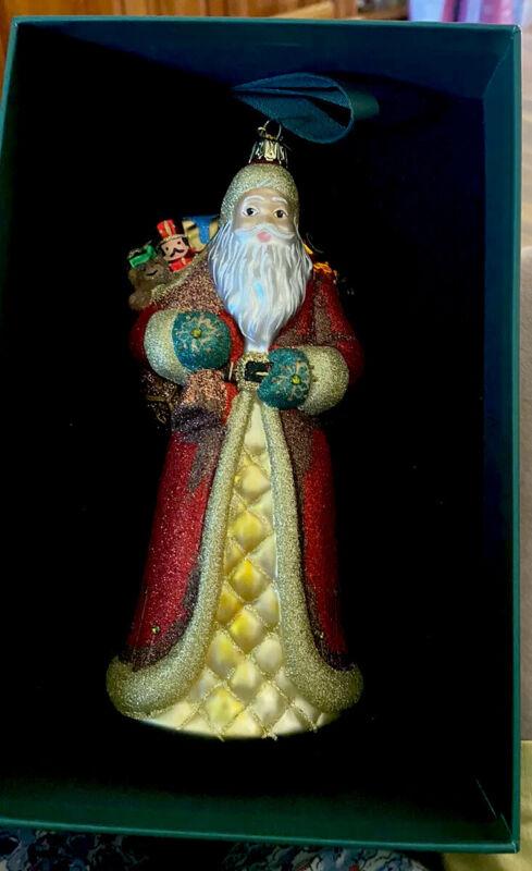 REED & BARTON European Glass Ornament Santa And Sack Of Toys W/Swarovski Crystal