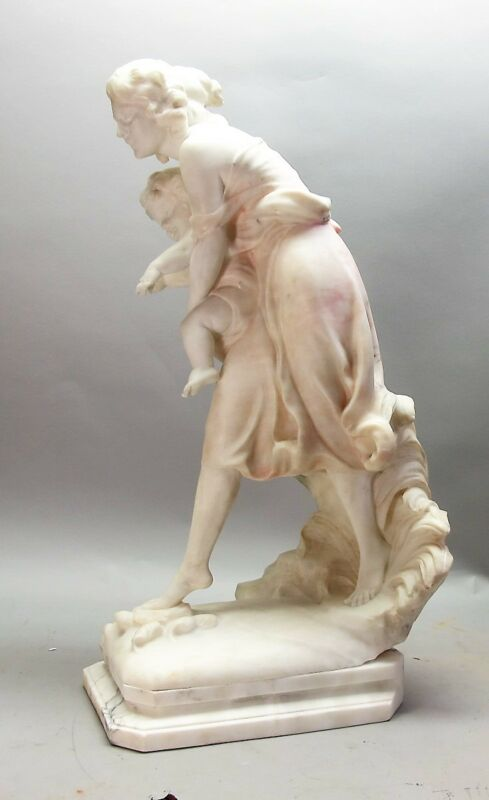 "Superb Antique ITALIAN Carved Alabaster 26"" Sculpture of Mother & Child  G. MASI"