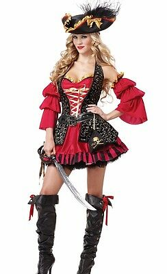 Sexy Spanish Pirate Costume Adult Female Buccaneer  - Plus Size L XL 2XL (Pirate Costume Plus Size)