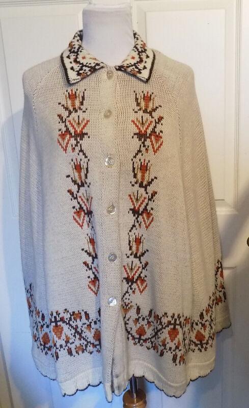 Vintage 70s Tan Brown Cape Folk Art Design JC Penney Fashions