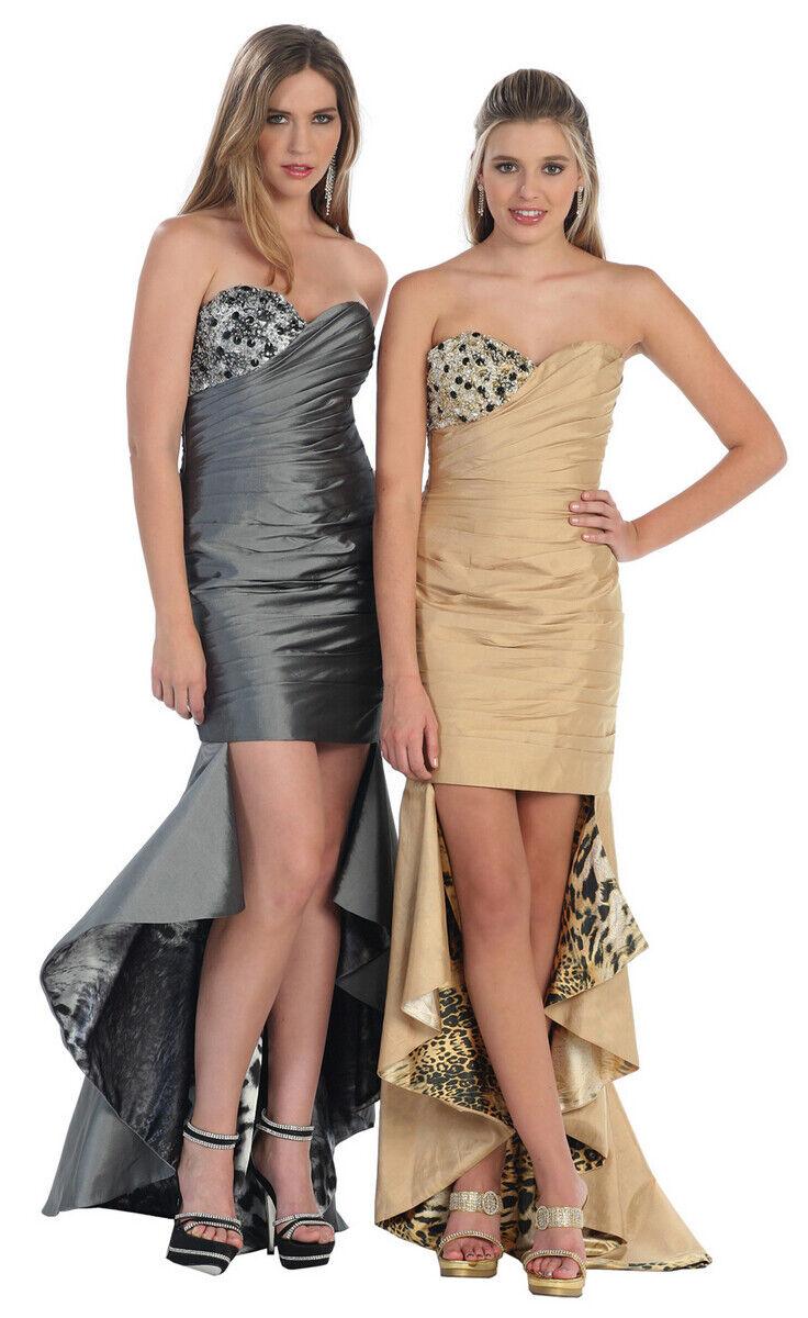 Abendkleid lang Vokuhila-Kleid Brautjungfernkleid Boho Ballkleid grau Gr.34 NEU