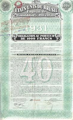 Brazil 5% Bond 1931 State Consalidation Loan 1000 fr Uncancelled Deco coupons