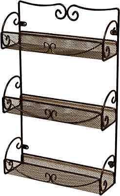 Spice Rack 3 Tier Wall Mounted Holder Storage Shelf Cabinet Organizer Kitchen