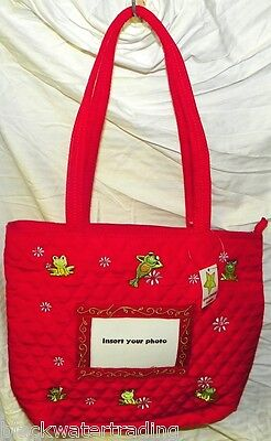 Red Quilted Frogs Flowers Purse Tote Handbag With Insert for