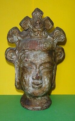 (ANTIQUE CHINESE CERAMIC POTTERY TERRACOTTA BUDDHA HEAD STATUE GOLD REMAINS)
