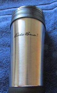EDDIE BAUER STAINLESS STEEL TRAVEL COFFEE MUG WITH LOGO