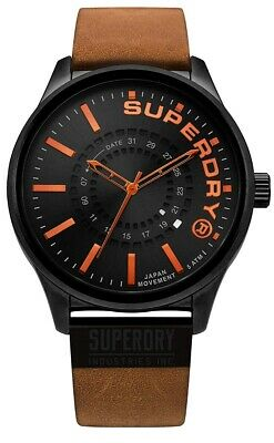 Superdry Mens Analogue Quartz Watch with Brown Leather Strap SYG233TB
