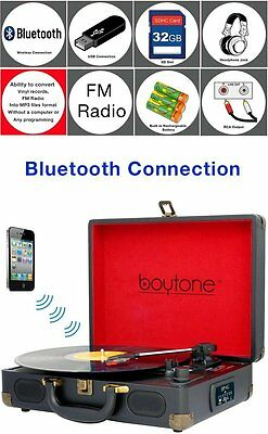 Boytone BT-101B Bluetooth Turntable Record Player Portable B