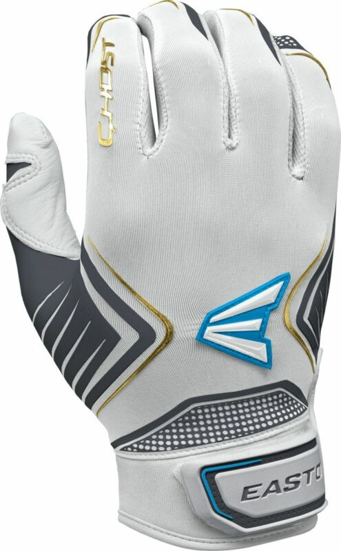 Easton Ghost Fastpitch Batting Gloves White/Charcoal/Gold - XL