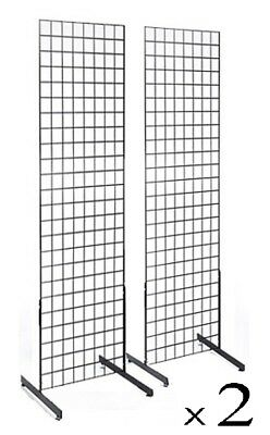Display Grid Rack 2 Pack 6 Ft Metal Panel Wall Stand Retail Store Art Organizer