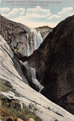STEVENSON CREEK FALLS~CANON~CANYON CALIFORNIA POSTCARD 1911 TRAIN STRIKE MESSAGE