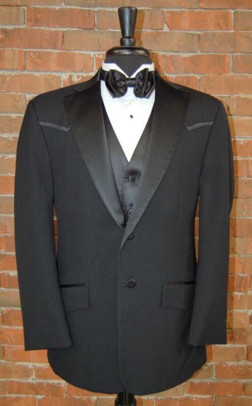 Mens 44 R Black Wool Western Style 2 Button Tuxedo Jacket by Oleg Cassini