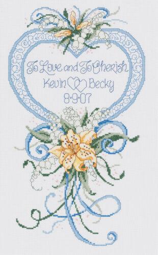 Janlynn Cross Stitch Kit, 15-Inch by 9-Inch , Cherished Wedd