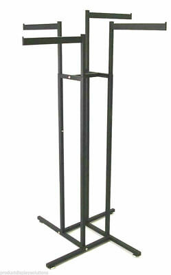 4 Way Garment Display Rack With 4 Straight Blade Arms Black