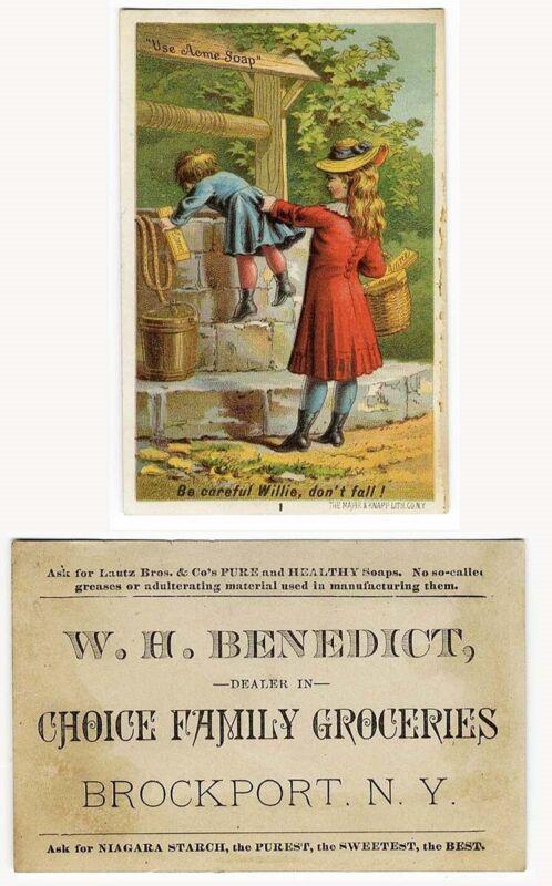 Brockport NY ACME SOAP Lautz Bros WILLIE & WELL No 1 VICTORIAN Trade Card 1880