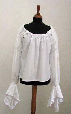 gen gepufften Ärmeln weiß Bluse Baumwolle LARP Mittelalter (Weiße Bluse Pirat)