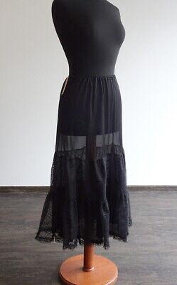 Leichter Unterrock Tüll und Spitze schwarz lang transparent Gothic Rock Größe - Spitze Langer Rock Kostüm