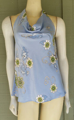 New ANN TAYLOR Pale Blue Floral Silky Draped Neck Halter Top 10 Draped Neck Halter Top