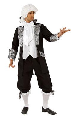 Barock Rokoko Herren Kostüm schwarz silber Gehrock mit Hose, Pirat, Edelmann (Schwarzer Gehrock Kostüm)