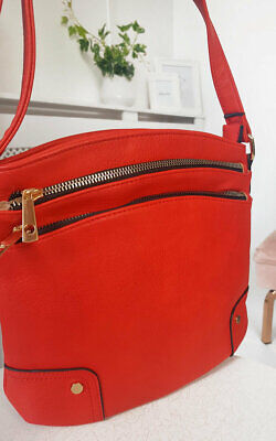 IKRUSH Womens Kathy Gold Detail Cross Body Bag  RED UK 1SZE