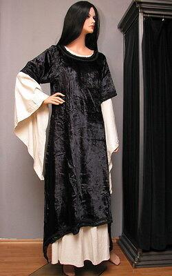 Mittelalterliches Überkleid Samtkleid schwarz Gothic Mittelalter Samt Kleid