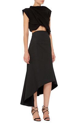 ELLERY $590 asymmetrical ruffled flared pin dot silk cotton Paris skirt 44-IT
