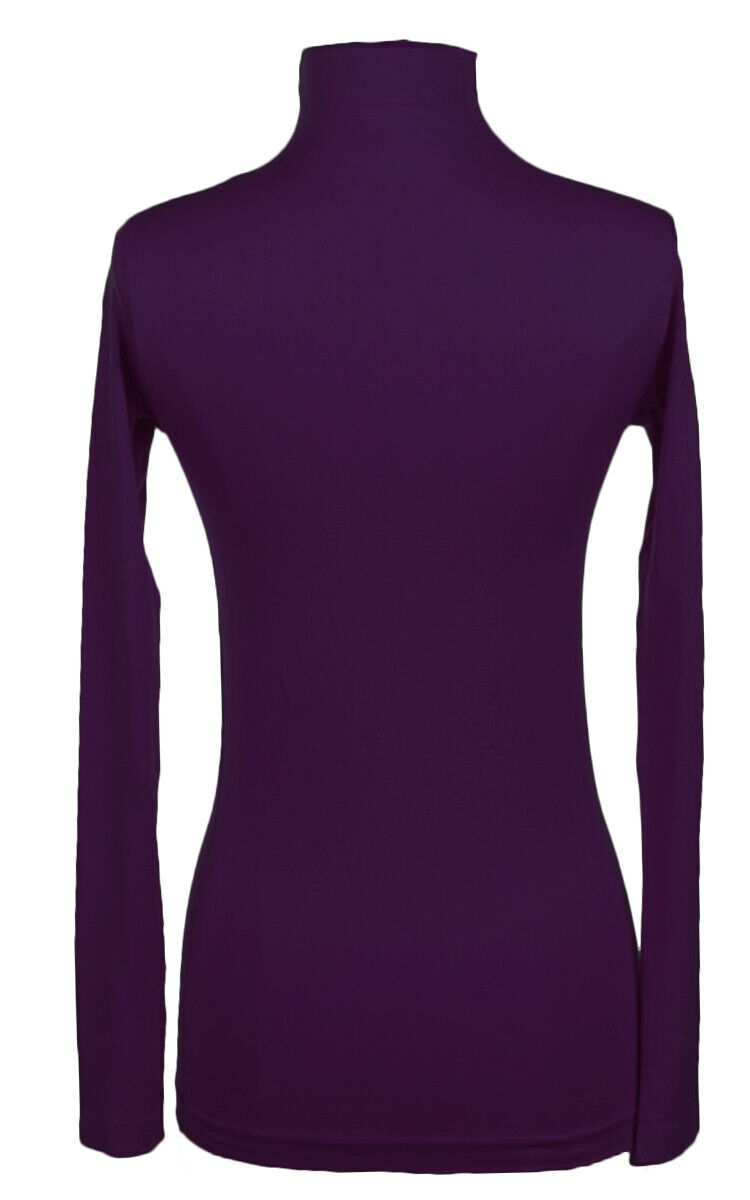 12Pc Plain Long Sleeve Mock Neck Seamless Top PURPLE Clothing, Shoes & Accessories