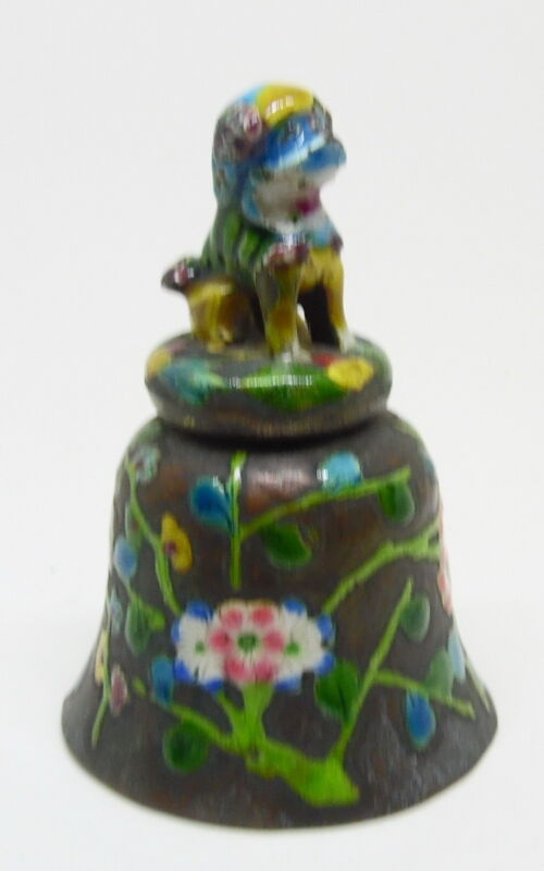 Antique Enameled Chinese Figural Foo Dog Floral Dinner Table Bell ~ Free Ship