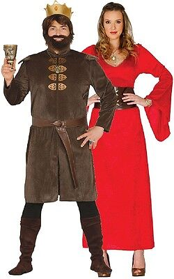 Couples Mens and Ladies Medieval Game King and Queen Fancy Dress Costume Outfit (King And Queen Outfits)
