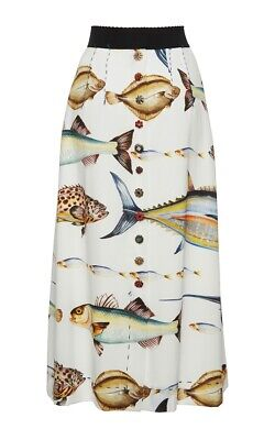 Dolce Gabbana Fish Print Cady Midi skirt $2200  IT 46