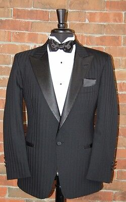 MENS 44 R CLASSIC 1 BUTTON BLACK PEAK COMPLETE TUXEDO SHADOW by CHRISTIAN DIOR