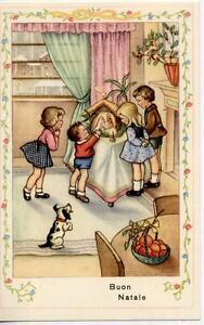 Kids Art Girls & Boys with Xmas Creche Puppy Dog Vintage PC Circa 1930 C - Italia - Kids Art Girls & Boys with Xmas Creche Puppy Dog Vintage PC Circa 1930 C - Italia
