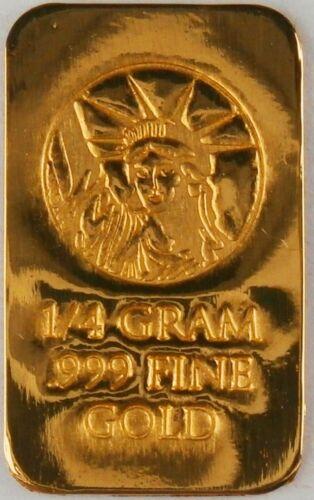 1/4 GRAM GOLD BAR OF 24K PURE .999 FINE GOLD STRATEGIC BULLION A3b