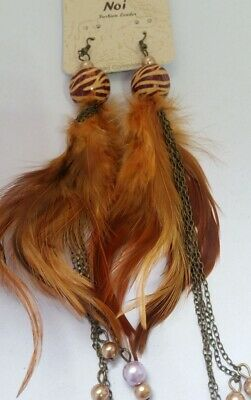 Brown Feather Brass Chain Bohemian Long Drop Earrings with beads Z2A-14/22 ()