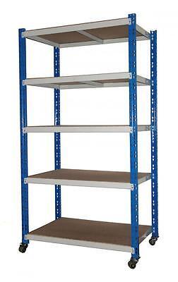 Rollregal 300kg, 188x100x60cm (HxBxT), 5 Böden, blau/lichtgrau MOBILES REGAL!