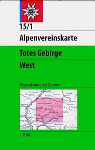 DAV ALPENVEREINSKARTE 15/1 TOTES GEBIRGE WEST 1 : 25 000 WEGMARKIERUNGEN UND SKI