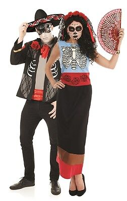Couples Ladies & Mens Day Of The Dead Halloween Fancy Dress Costumes - Day Of The Dead Couple Costumes