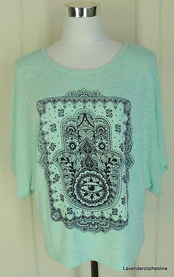 Le Lis S Aqua Stitch Fix Stretch Knit Dolman Sleeve Beachy Top Tattoo Henna - Beachy Tattoos