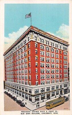 Cincinnati Ohio Provident Savings Bank   Trust New Bldg Trolley Postcard 1920S