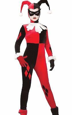 Harley Quinn Costume Adult Batman Gotham Quin Evil Jester - Medium 10-14- Fast -
